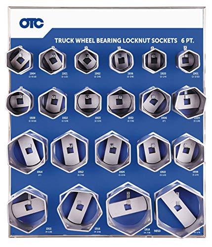 OTC 9850 6-Point Truck Wheel Bearing Locknut Socket Set with Tool Board