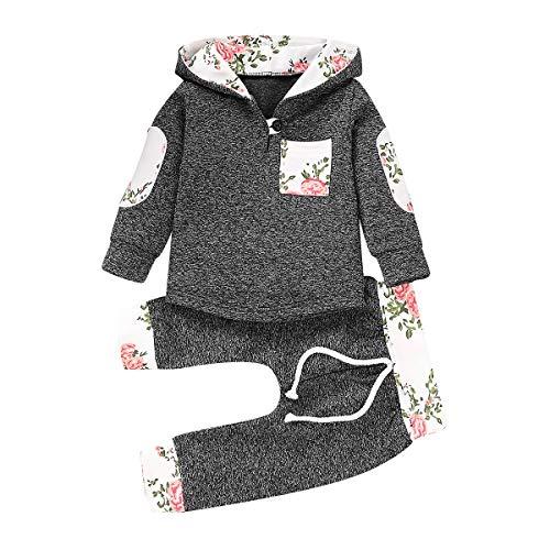 HaiQianXin 2pcs / Set Automne Hiver Mode Bébé Bébé Fille Bot Hoodies À Capuche Hoods Tops + Pantalon Survêtement (Color : Dark Grey 80)