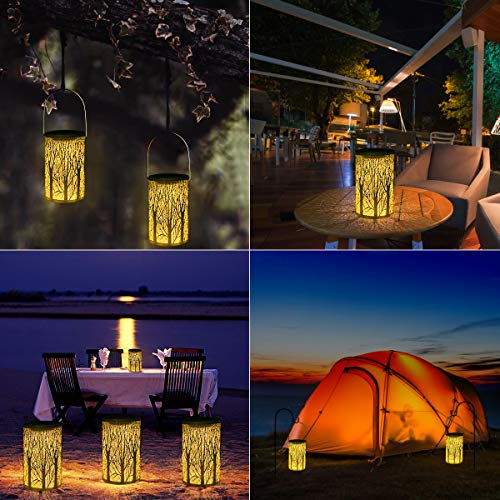 Yokunat LED Solar Lantern Outdoor Decorative Hanging Garden Lantern Cylindrical Lamp Night Light