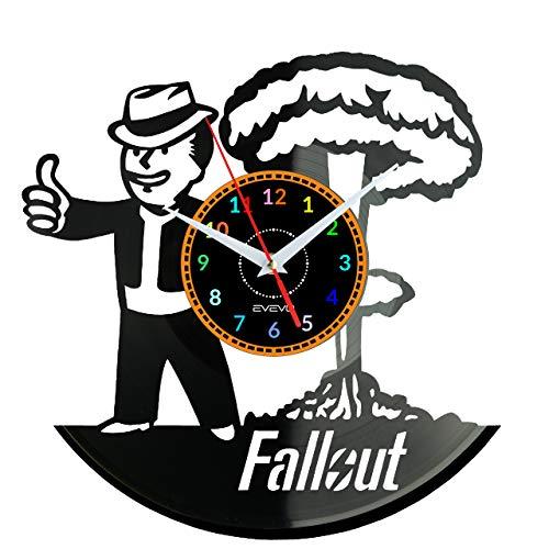 EVEVO Fallout Wanduhr Vinyl Schallplatte Retro-Uhr Handgefertigt Vintage-Geschenk Style Raum Home Dekorationen Tolles Geschenk Wanduhr Fallout