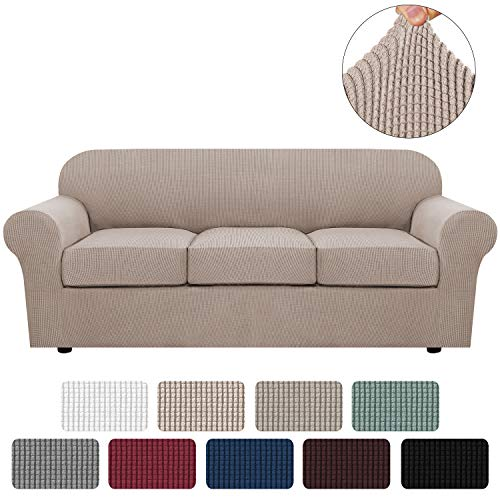 H.VERSAILTEX 4 Piece Stretch Sofa Covers for 3 Cushion Couch Covers for Living Room Furniture Slipcovers (Base Cover Plus 3 Seat Cushion Covers) Feature Upgraded Thicker Jacquard Fabric (Sofa, Sand)