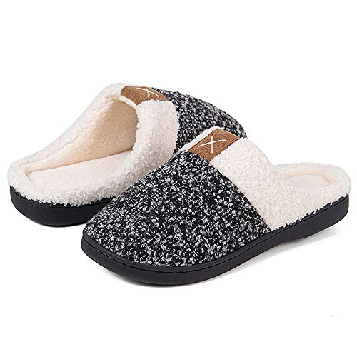 Women's Memory Foam Slippers Comfort Wool-Like Plush Fleece Lined House Shoes for Indoor & Outdoor (A/Black White, 38/39)