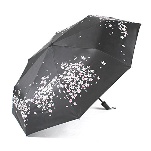 ZSSM Winddichter Reise-Regenschirm mit Kirschblüten-Motiv, schnelltrocknend/wasserdicht, 8 Rippen, verstärkt, Winddicht, Rutschfester Komfortgriff, Sonnenschutz, UV-Regenschirm, blau