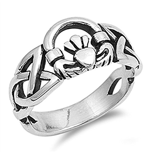 Celtic Trinity Knot Claddagh Heart Ring New .925 Sterling Silver Band Size 9