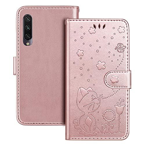 The Grafu Hülle für Xiaomi MI 9 Lite/MI A3 Lite/MI CC9, PU Leder Stoßfest Klapphülle Handyhülle für Xiaomi MI 9 Lite/MI A3 Lite/MI CC9, Brieftasche Schutzhülle mit Kartenfach, Roségold