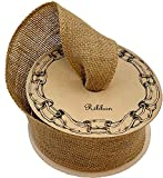 """Fabric Burlap Woven Ribbon - 2 1/2"""" x 10 Yards, Fall Decor, Christmas Tree Ribbon for Crafts, Rustic Jute Wedding Embellishments, Natural Color, Holiday Decor, Wreaths, Garlands, Swags, Vintage"""
