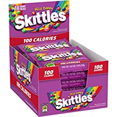 Bite-size, colorful chewy candies now in 100 calorie serving sizes! Taste the rainbow - Wild Berry Skittles include berry punch, strawberry, melon berry, wild cherry, and raspberry flavors. Perfect for parties, game-time snacks, or even as a topping ...