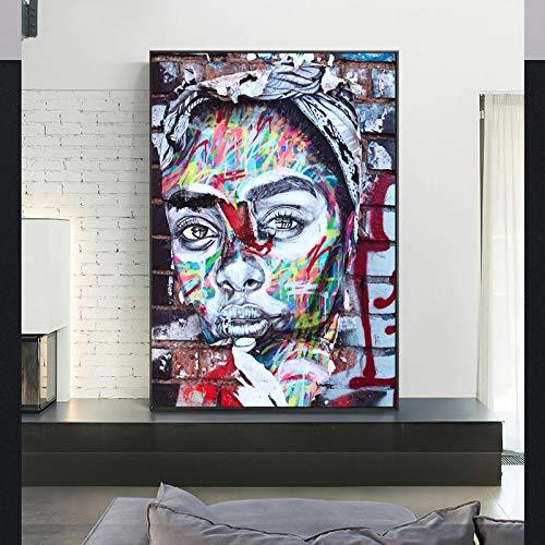 KWzEQ Imprimir en Lienzo Doodle Girl for artworkon posterhome Decor Living room70x90cmPintura sin Marco