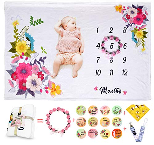 """Baby Monthly Milestone Blanket Large 40""""x60""""  Personalized Picture Set boy Girl"""