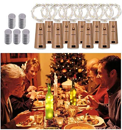 20 LED 2M FlaschenLicht Warmweiß Weinflasche Lichter Stimmungslichter korken Form 10 Pack Lichterketten Kupferdraht für Party DIY Deko Weihnachten Halloween Hochzeit Romantische
