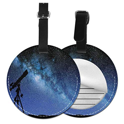 Round Travel Luggage Tags,Telescope Valley Under Starry Night Sky Milky Way Atmosphere Galaxy Astronomy,Leather Baggage Tag