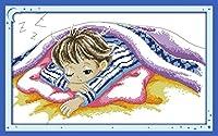 LovetheFamily 夢の赤ちゃん(男の子) 54 x 35cm DIY十字刺繍 手作り刺繍キット 正確な図柄印刷クロスステッチ 家庭刺繍装飾品 11CT 3ストランド(インチ当たり11個の小さな格子 3株ライン) 刺しゅうキット ホーム オフィス装飾 手芸 手工芸 キット 芸術 工芸 DIY 手作り 装飾品(フレームレス)