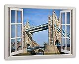 Pixxprint Tower Bridge, Fenster Leinwandbild |Größe: