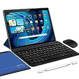 5G Tablette Tactile Android 10.0 WiFi Tablettes 10 Pouces, 4Go RAM + 64/SD 128Go ROM, Certification Google GSM Tablet WiFi - Quad Core 1.6GHz Tablette PC avec Clavier et Souris (Bleu)