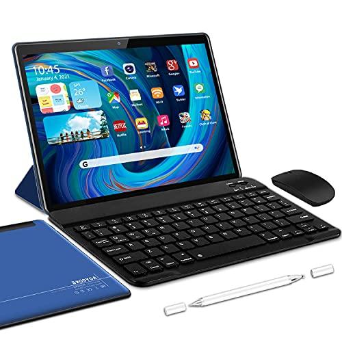 Tablet 10 Pollici Android 10.0 Certificato Google GMS Tablets 5G (2.4Ghz e 5Ghz),4 GB RAM e 64 128GB ROM,Doppi WiFi, Incluso Ttastiera Bluetooth,Mouse,Custodia per Tablet e Altro -Type-C (blu)