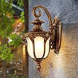 Vintage E27 Gartenlampe Wandleuchte Außen Innen Wand-Beleuchtung Aluminium und Glas Schirm Wasserdicht IP44 Wandlampe für Balkon Terrassen Pavillon Villa Eingang,Bronze