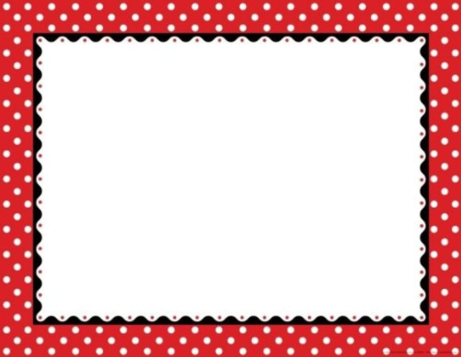 Just Dotty Red & White Border Chart
