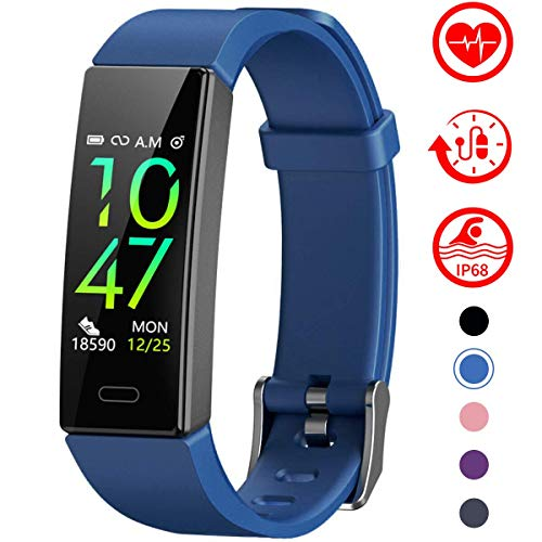 Mgaolo Fitness Tracker with Blood Pressure Heart Rate Sleep Monitor,10 Sport Modes IP68 Waterproof Activity Tracker Fit Smart Watch with Pedometer Calorie Step Counter for Women Men Kids (Blue)