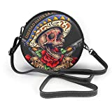 BAODANLA Bolso redondo mujer Shoulder Bags Women Round Bags Vector Illustration of Day of The Dead Skull with Banner Roses and Revolver Crossbody Leather Circle Bag