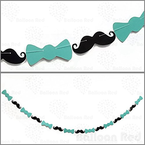 Mustache and Bow Tie Shape Pennant Bunting Banner Garland Wedding Birthday Party Decoration