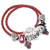 WUANNI Planeten Armband,Modeschmuck Leder Pandoro Armband für Frauen Charm Armbänder Handmade Jewelry-MN004_17cm