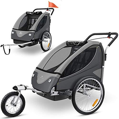 KESSER® Cruiser Kinderanhänger Fahrradanhänger 360° Drehbar mit Federung 2in1 Joggerfunktion Kinderfahrradanhänger + 5-Punkt Sicherheitsgurt, Jogger fahrrad Anhänger für 1 bis 2 Kinder max. 40kg Grau