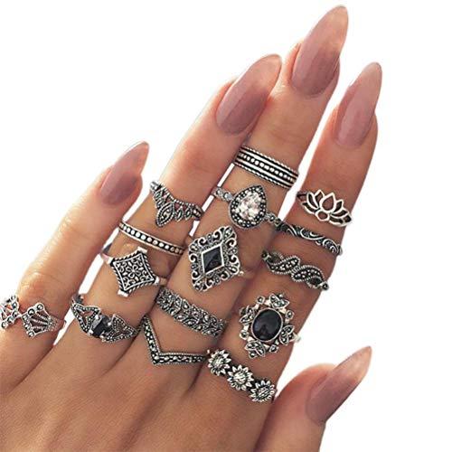Enkomy Anillo de Dedo Bohemio, 15 Piezas de Anillos Midi Vintage para Mujer, Conjunto de Anillos de Dedo de aleación Retro, Regalos de joyería para Mujer