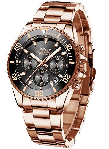 Relojes Hombre Relojes de Pulsera Cronografo Diseñador Impermeable Reloj Hombre de Acero Inoxidable Analogicos Fecha (Negro d)