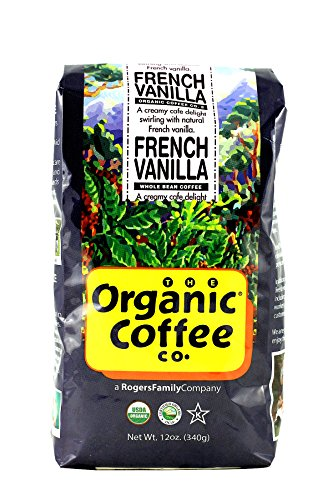 The Organic Coffee Co., French Vanilla- Whole Bean, 12 Ounce- 3 Pack, Flavored, USDA Organic