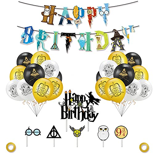 TOGETOP Harry Potter Party Zubehör Dekoration Geburtstag Dekorationen Zauberer Geburtstag Dekoration Kindergeburtstag Party Deko Happy Birthday Banner Wizard Magische Luftballon für Kinder Jungen