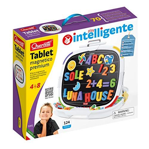 Quercetti-Quercetti-5341 Pizarra de Letras y números magnéticos, Juegos educativos (5341)