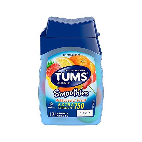 Tums Smoothies Extra Strength 750 Antiácido y suplemento de calcio, tabletas masticables de frutas variadas - 12 Ea