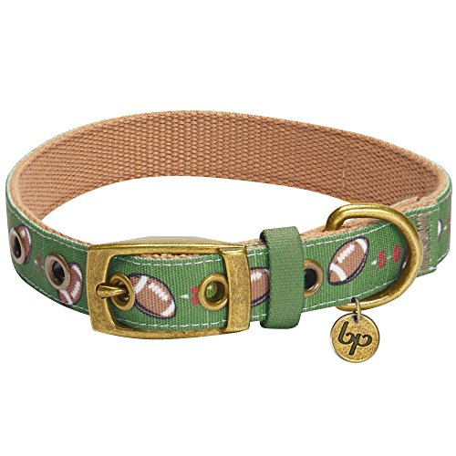 "Blueberry Pet 5 Patterns Sports Fan Football Canvas Adjustable Dog Collar with Metal Buckle - Olive Green, Neck 17-20.5"", for Large Breed"
