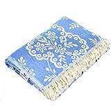Carenesse Tagesdecke Paisley blau, 150 x 200 cm,100prozent Baumwolle, leichte dünne beidseitig schöne Decke mit kurzen Fransen, Überwurf für Bett Sofa & Couch, Tischdecke, Dekodecke