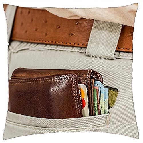 Fundas de almohada, monedero, dinero en efectivo, tarjeta de crédito, monedero, fundas de cojín de moda, para dolor de cuello, 45 x 45 cm