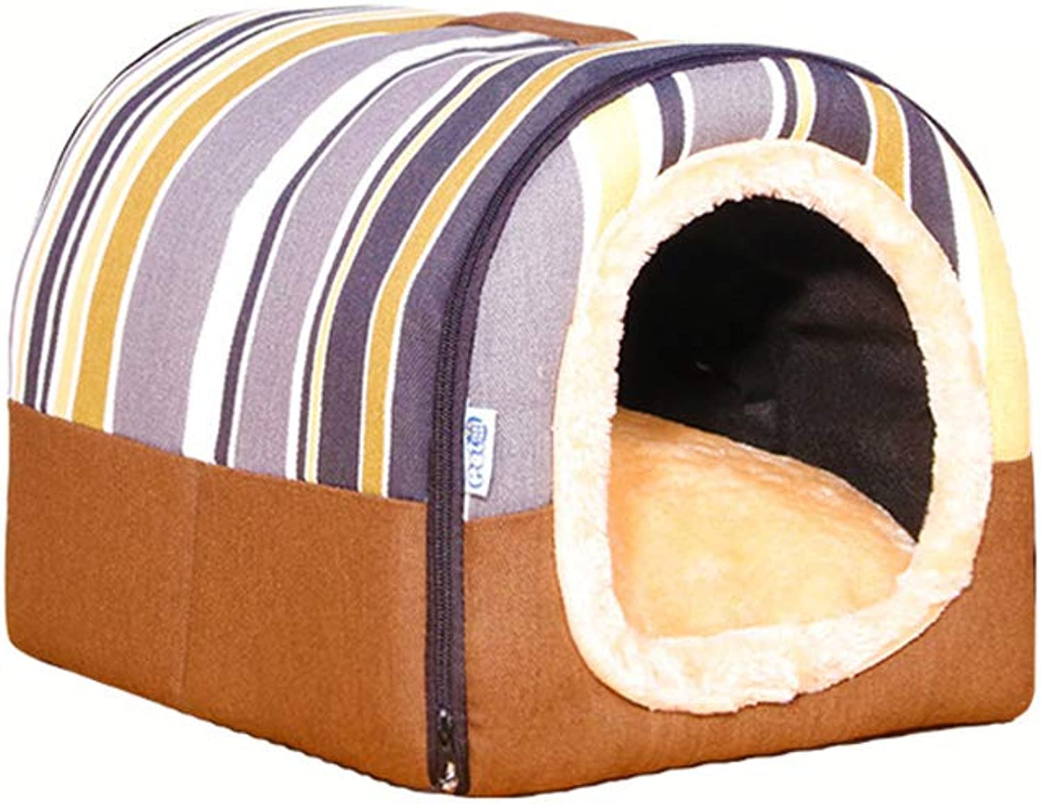 TTLTLCWW Dog Bed, Small, Medium and Large Dog House, Remable and Wasable Pet Bed, Cat Bed, Multisize (colore: BROWN, Dimensione: S)
