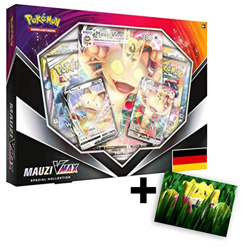 Lively Moments Pokemon Karten Mauzi VMAX Spezial Kollektion / Edition Deutsch DE / Sammelkartenspiel Meowth + Exklusive GRATIS Grußkarte