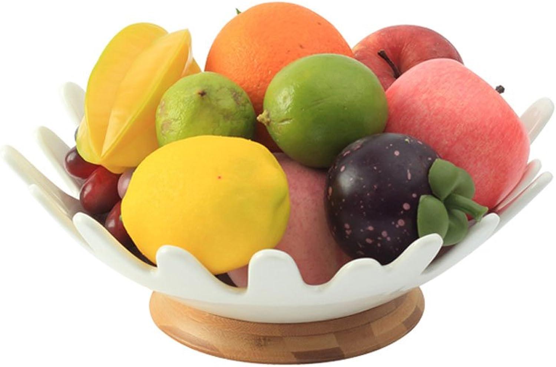 Assiette de fruits ménagers Plaque à fruits en céramique plaque de fruits créative bambou base en bois bureau affichage de la personnalité panier de fruits