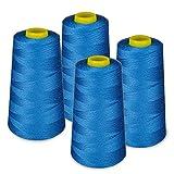 LIALINA - 4 Conos de Hilos Overlock 100% Poliéster (287 Azul Vaquero) para Coser a Máquina y Remallar – 40S/2, 3000 Yardas – Hilo Para Remalladora Resistente, Duradero, Colores Brillantes de Máxima Calidad