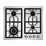 NOXTON Cocina de Gas de 60 cm Cocina de Cuatro quemadores con Kit de LPG Quemador 4 en Acero Inoxidable FFD