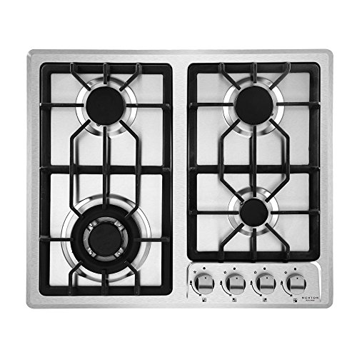 NOXTON 4 Burner Gas Hob Built-in Domino Cooker in Stainless Steel FFD with LPG Kit [Energy Class A+]