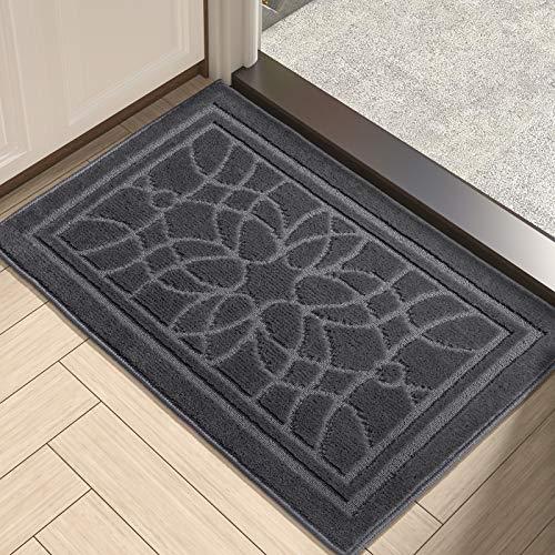 """DEXI Indoor Doormat, 20""""x32"""" Non-Slip Absorbent Front Door Mats Low Profile Machine Washable Door Rug for Entry, Garage, Patio, Dark Gray"""