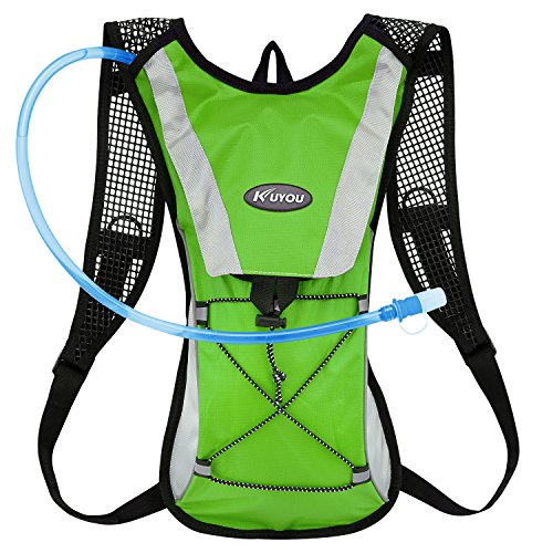 KUYOU Hydration Pack Water Rucksack Backpack Bladder Bag Cycling Bicycle Bike/Hiking Climbing Pouch + 2L Hydration Bladder,(Green+Water Pouch)