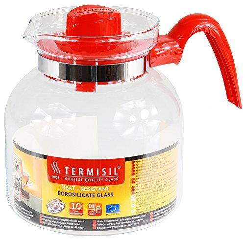 Termisil Teekanne Teebereiter Glaskanne Saftkrug Wasserkrug Bistro Krug (1,85 Liter, Rot)