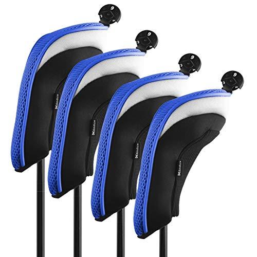 Andux Golf Hybrid Club Head Covers Set of 4 Interchangeable No. Tag (Blue)