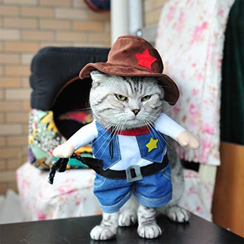 Hillento Cowboy Hundekostüm mit Hut, Cowboy Halloween Kostüme für Katze & Hund Cosplay, West Cowboy Uniform mit Hut