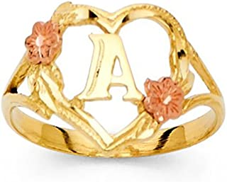 14K Tri-Color Gold Initial Ring Letter A