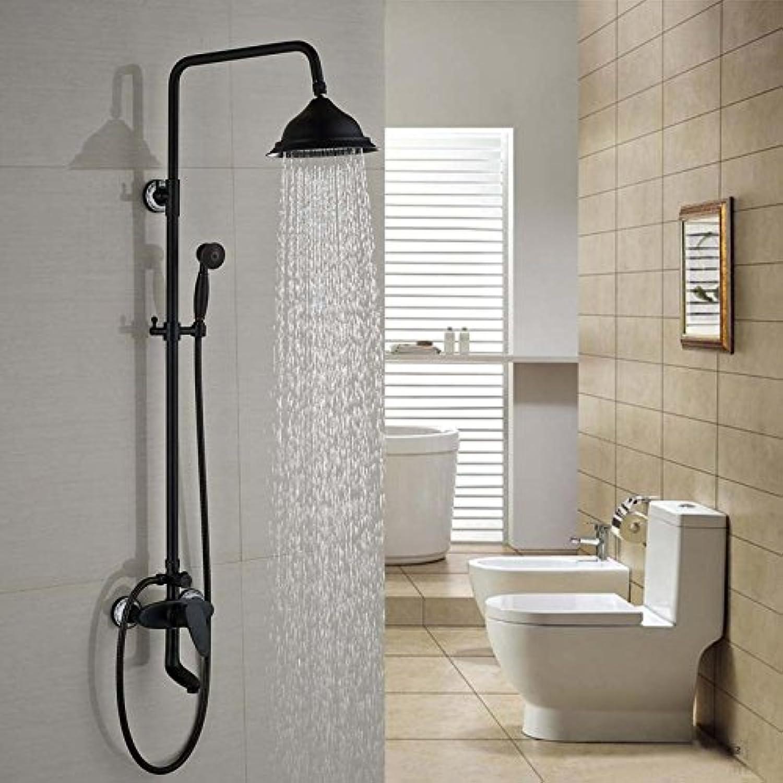 Luxurious shower Gute Qualitt Wall Mount 8  Regendusche Hahn eingestellt ist, um einen Griff Badewanne Dusche Armaturen + Handdusche, Schwarz