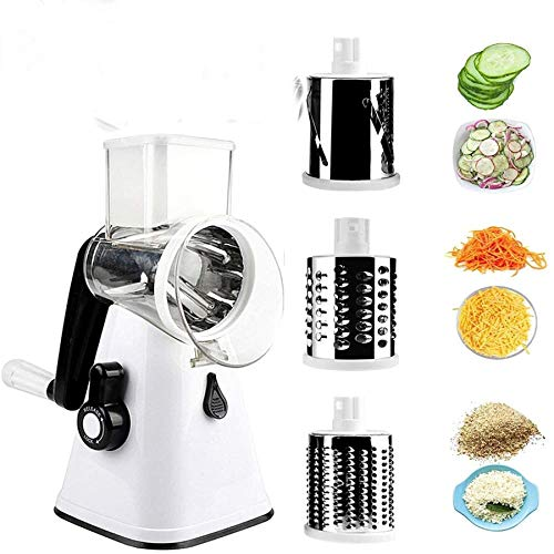 D L D Multifunctional Vegetable and Fruit Cutting Machine, Rotating Drum Cheese Grater with 3 Stainless Steel Revolving Blades, Manual and Safe Milling, Slicer (Gray)