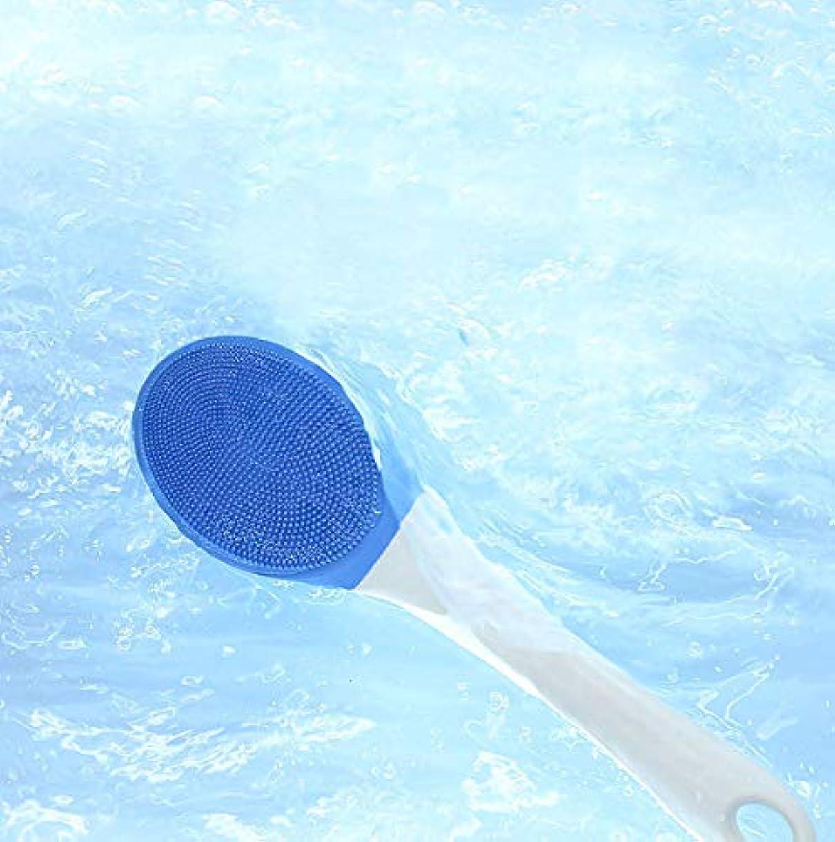 スーパーマーケット放映うつ電気バスブラシ、防水ボディ、洗顔ブラシロングハンドルソニック電動スクラバーディープクリーニング用3スピード調整可能なパルス振動,Blue